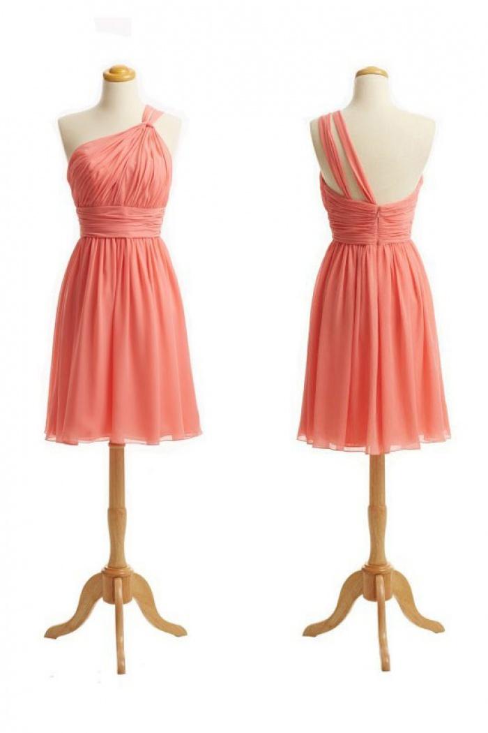 da222f81684 Elegant One-shoulder Short Coral Chiffon Bridesmaid Dress ...
