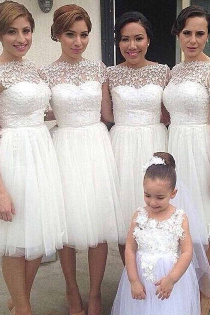 Simple A Line Bateau Knee Length White Bridesmaid Dresses With Appliques Wisebridal Com