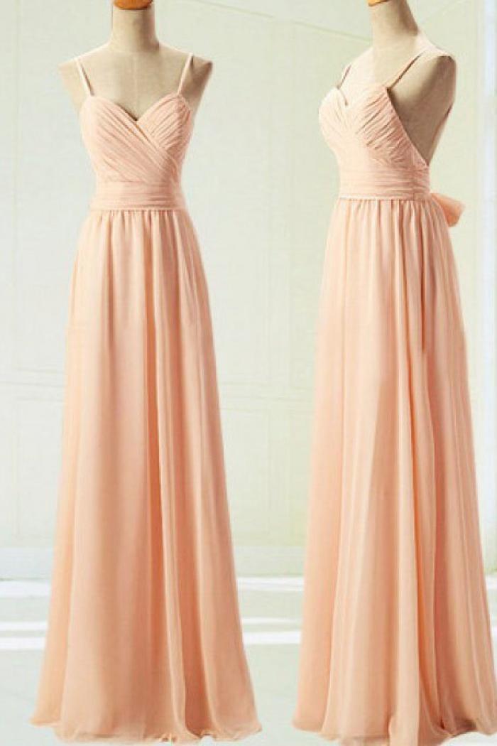 A-Line Spaghetti Straps backless Long Peach Chiffon Prom/Bridesmaid ...