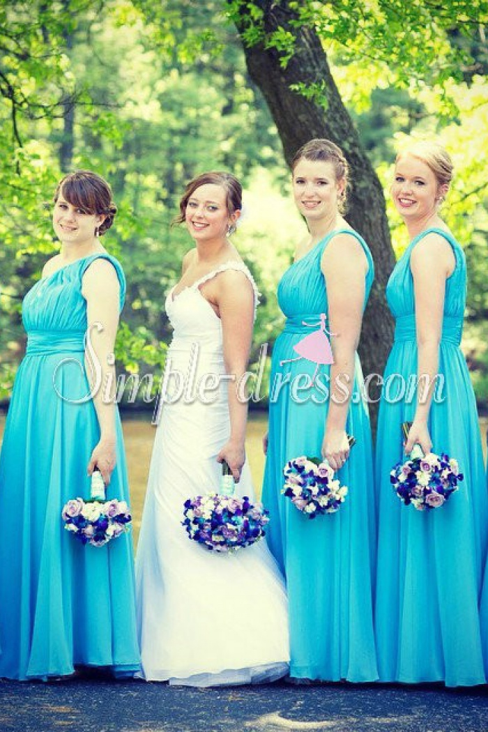 Simple Dress Hottest Ing One Shoulder Long Chiffon Bridesmaid Dresses Wedding Party