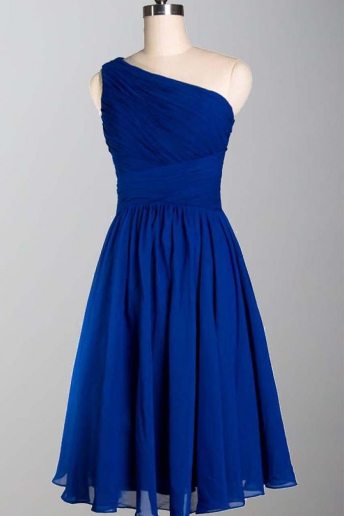 2dfe024d31aa Simple Royal Blue One Shoulder Knee Length A Line Chiffon Bridesmaid Dress  CHBD-80054 0
