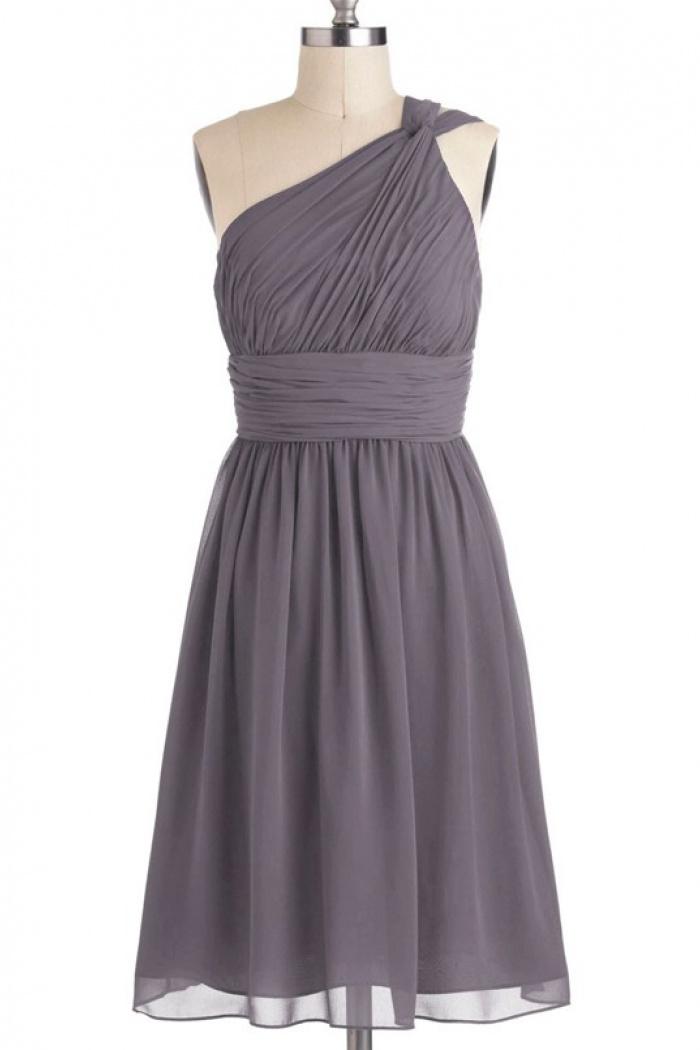 Simple Dress A Line One Shoulder Elegant Chiffon Bridesmaid Dresses