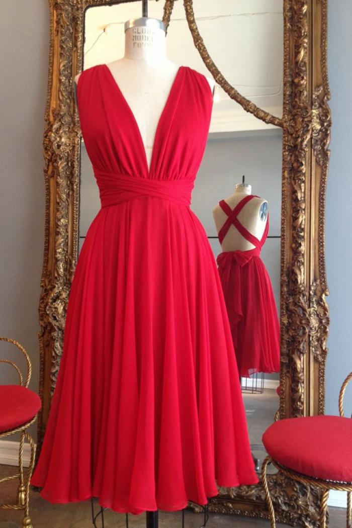 Simple Dress Handmade Short Red Chiffon Backless Criss Cross Dresses Wedding Party Chbd