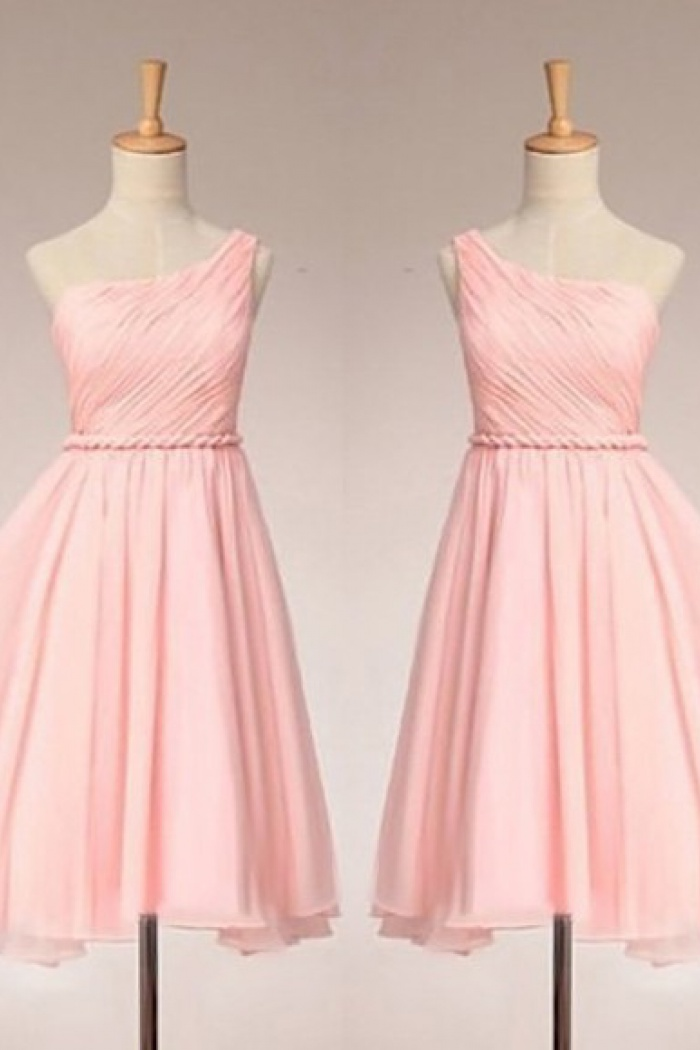 Simple Dress Elegant One Shoulder Ruched Pink Chiffon Bridesmaid Dresses Wedding Reception Chbd