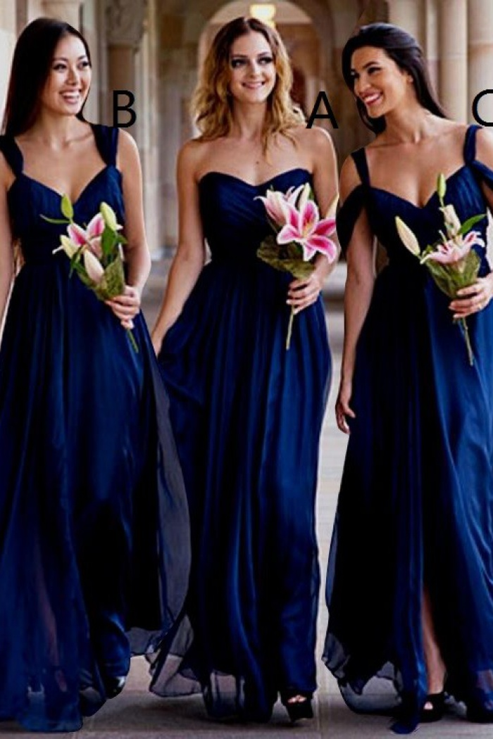 A Line Sweetheart Floor Length Dark Blue Chiffon Bridesmaid Dress