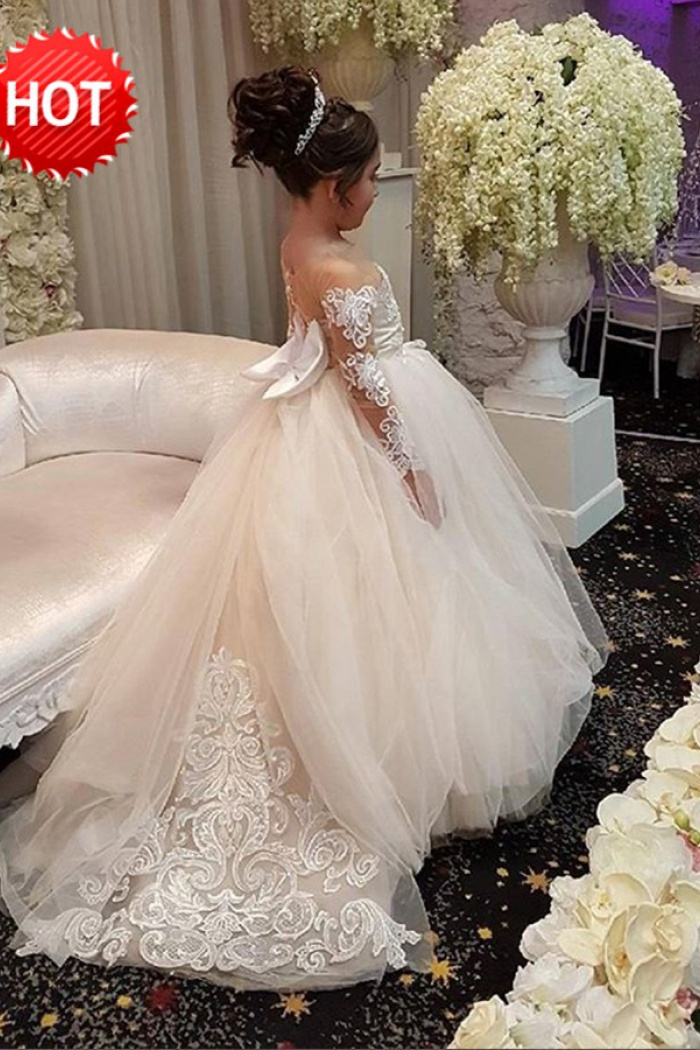 f4e3f103b2865 Ball Gown Round Neck Light Champagne Tulle Flower Girl Dress with Appliques  1