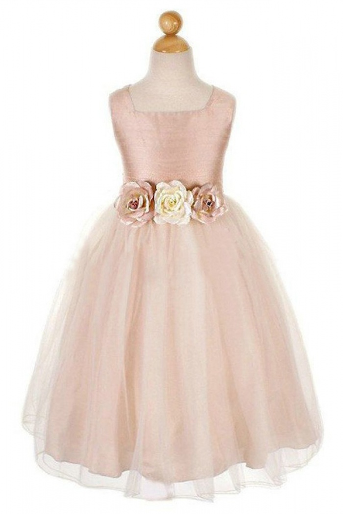 Simple A Line Square Tulle Flowers Sleeveless Flower Dress