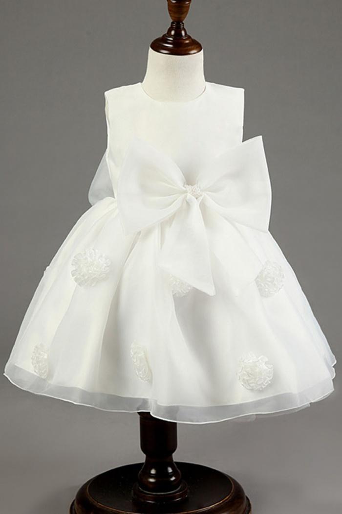 Simple jewel sleeveless short white organza flower girl dress with simple jewel sleeveless short white organza flower girl dress with bowknot handmade flowers 0 mightylinksfo