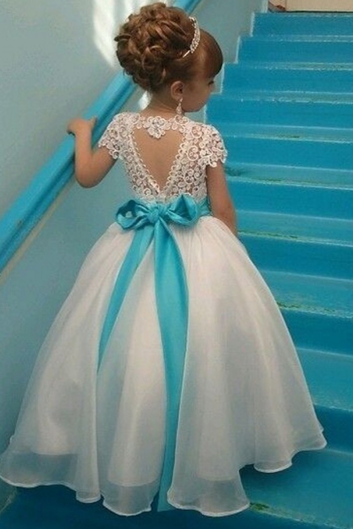 d093f9a104a Ball Gown Jewel Cap Sleeves White Organza Flower Girl Dress with Lace  Beading 0