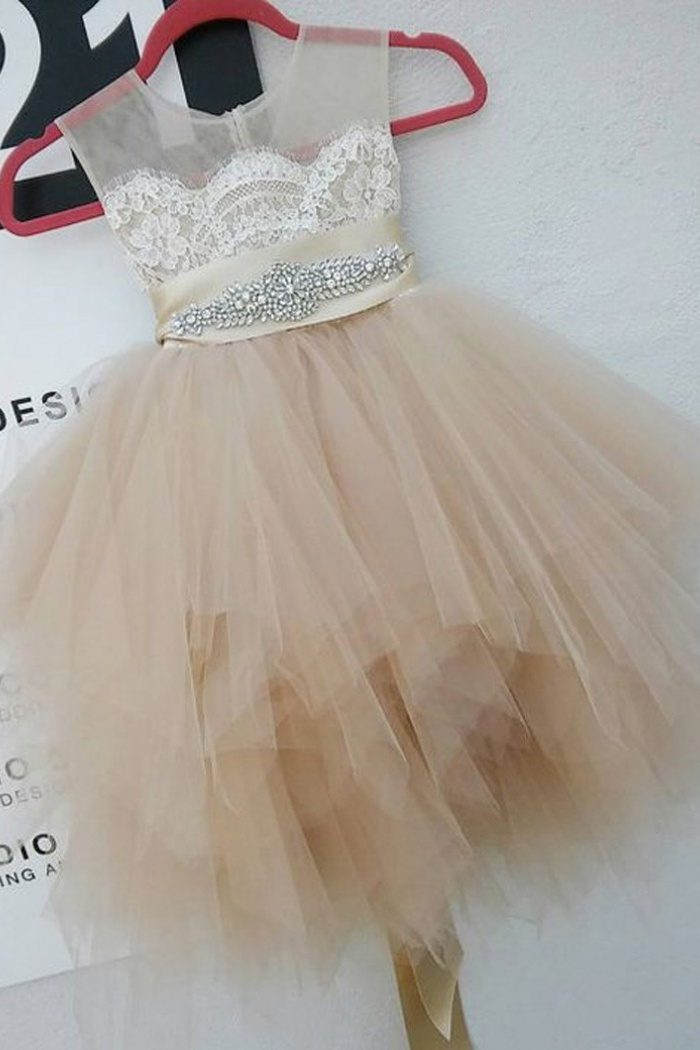 d30fe5f3696 Cute Round Neck Sleeveless Short Ivory Flower Girl Dress with Lace Beading  Pleats 0