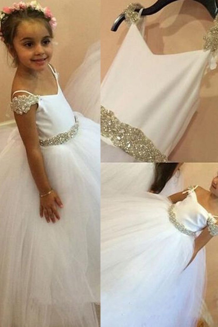 ad52e85dad Modern Spaghetti Straps Long White Ball Gown Flower Girl Dress with Beading  0