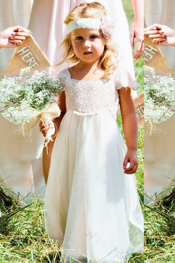 A Line Square Cap Sleeves White Tulle Flower Girl Dress With Sash