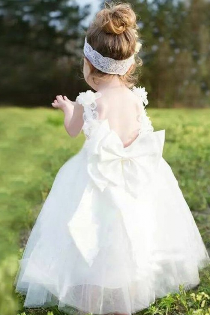 Ball gown scoop backless white tulle flower girl dress with bowknot ball gown scoop backless white tulle flower girl dress with bowknot appliques 0 mightylinksfo