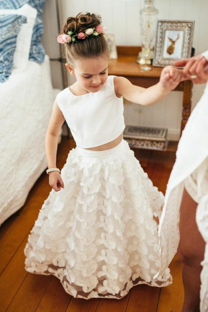 Two piece round neck white lace flower girl dress wisebridal two piece round neck white lace flower girl dress 0 mightylinksfo