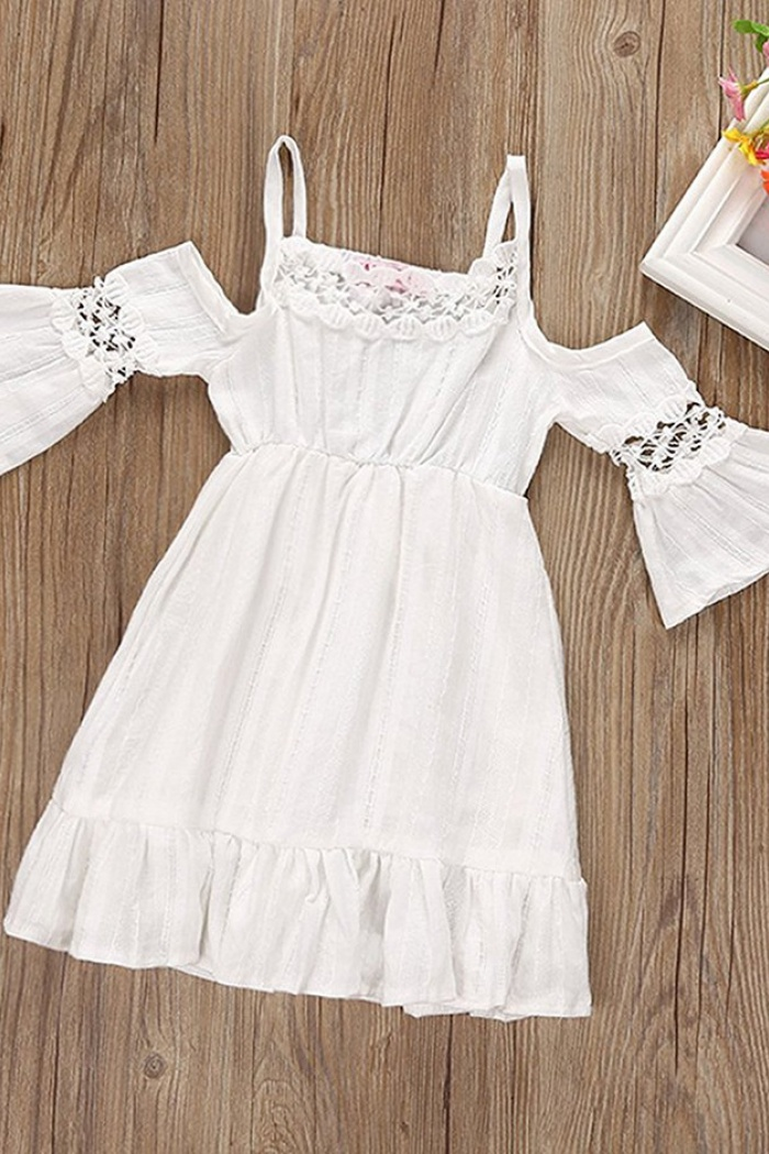 A line straps cold shoulder white cotton flower girl dress with lace a line straps cold shoulder white cotton flower girl dress with lace 1 mightylinksfo
