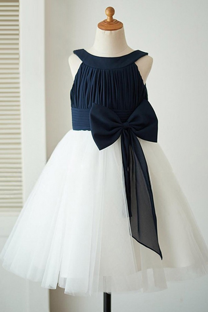 A Line Bateau White Flower Girl Dress With Navy Blue Bow