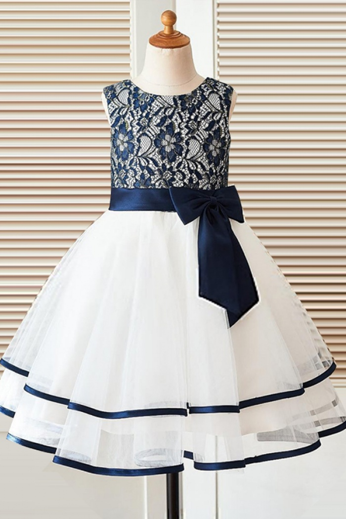 A line round neck white flower girl dress with navy blue bow a line round neck white flower girl dress with navy blue bow 0 mightylinksfo